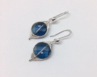 Navy Blue Swarovski Earrings - Navy Blue Jewelry - Wire Wrapped Earrings - Crystal Earrings - Herringbone Weave Jewelry - Navy Dot