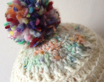 Decadent Pompom crayon yarn hat hand spun crochet super soft blueface Leicester yarn slouchy hat ladies fit