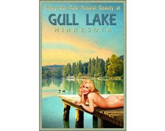 Gull Lake Minnesota Marilyn Monroe Pin Up Poster Duck Dock Sunset Art Print 293