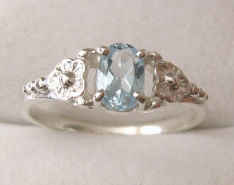 Genuine SOLID 925 Sterling Silver Natural Blue Topaz Daisy Dress Ring L/6 to P/8 Same Price