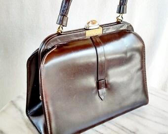 Vintage Classic Mod 50s Leather Handbag