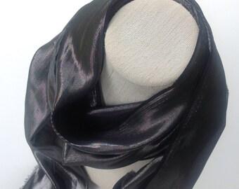Retirement gift for Teachers, Black Skinny scarf, Versatile sash, Gothic black, Gift for Friend, Black tie silk scarf for Men, Sparkle Scarf