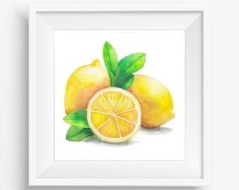 Nice Fruit Print, Lemons Printable, Yellow Lemon Print, Watercolor Lemons,  Watercolor Painting,