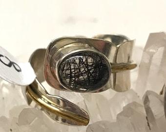Black Tourmalinated Quartz  Ring, Size 8