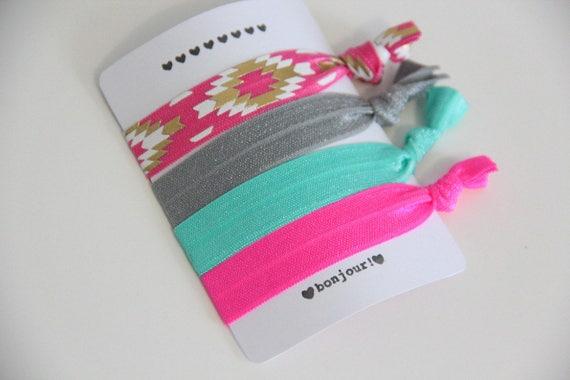Set of 4 hair ties - elastics - no crease hair ties - stretch bracelets - pink - gold - gray - aqua - neon pink - favor gift - summer - dK07