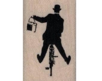 rubber stamp Banksy man riding bike  stamps stamping no19943 scrapbooking supplies