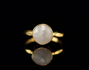 40 0FF - White Moonstone Ring - June Birthstone Ring - Gemstone Ring - Gold Ring - Bezel Set Ring