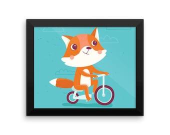 Fox on Bike Framed Poster