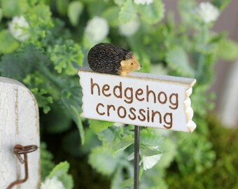 Fairy Garden Sign accessories - miniature hedgehog crossing miniature sign