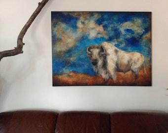 White Buffalo Extra Large Original Painting