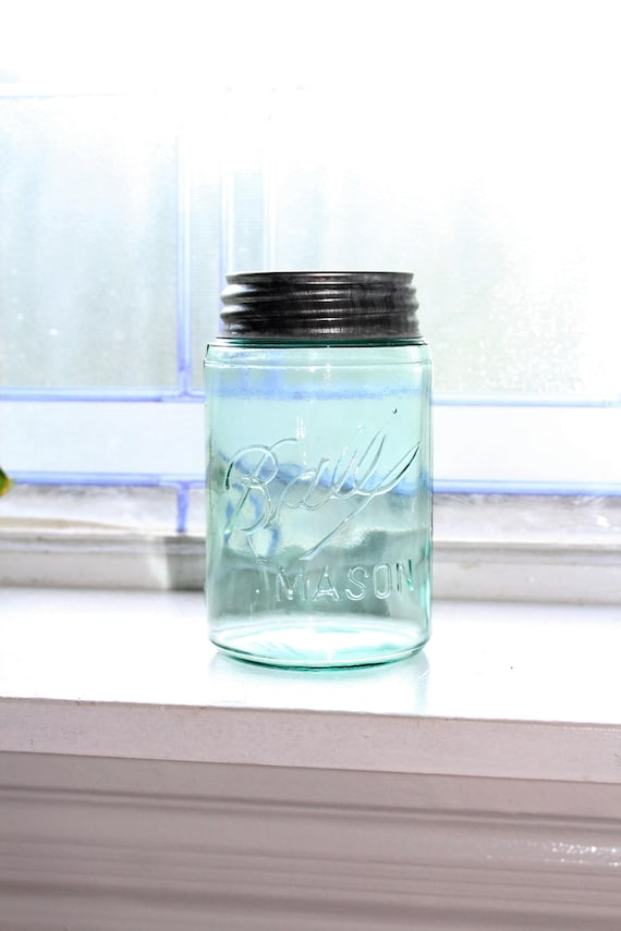 Blue Ball Mason Jar Antique 1896 - 1910 Three L Logo PintTriple L Logo