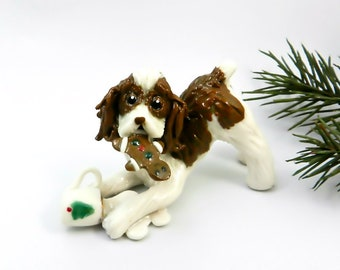 Springer Spaniel Liver Porcelain Christmas Ornament Figurine Santa's Milk Cookie