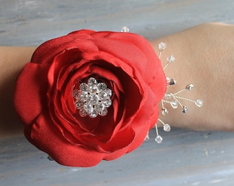 Wrist Corsage Red Wedding  Corsage Mothers  Corsage Corsage Prom Corsage Flower Corsage Wristlet Corsage Wedding  Red Corsage