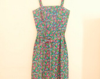 Bright Floral Print Dress - 1980s