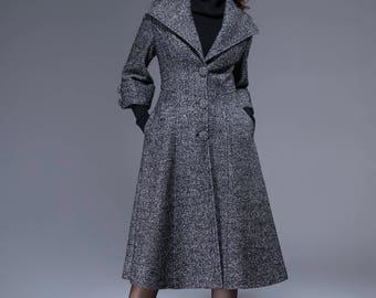coats for women , swing coat, maxi coat , winter coat, wool coat, woman coat, coat dress, extravagant coat, grey coat,  handmaed coat 1825