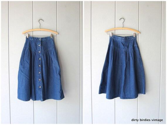 80s Button Front Jean Skirt   Blue Denim Chore Skirt Bohemian Cowgirl Midi Skirt High Waist Hippie Skirt Women's XS