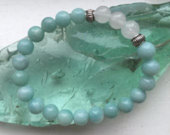 Believe in Yourself - Amazonite & Translucent Quartz Crystal Bracelet
