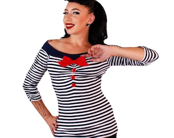 Off The Shoulder Top Navy/White striped