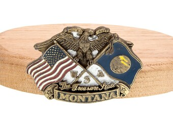 Montana State Nov 8th 1889 Rare Unique Treasure State Eagle Flag USA Belt Buckle