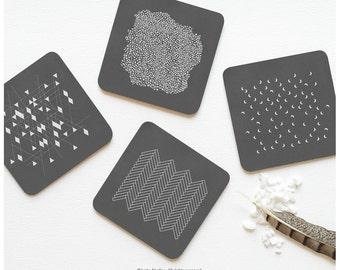 Coaster Set of 4 Charcoal Gray, Geometric Patterns Coasters, Gray Chevron Coaster Set, Gray Polka Dots Coasters, Gray Moons Coasters 01.