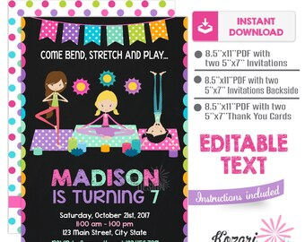 Editable Yoga Invitation , Birthday Invitation , Yoga Birthday Invitation, Instant Download, Editable Pdf
