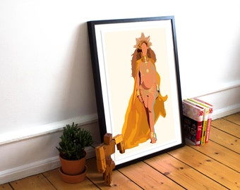 Beyonce INSPIRED Poster - Grammys Performance / Lemonade Print / Minimalist Art /Queen Bey / Music Poster /Beyonce Home Decor / Beyonce Gift
