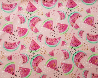 Watermelon Fabric Knit - Cotton Knit Fabric, Summer Fabric by the yard, Digital Print Fabric, Watermelon Fabric, Stretch fabric, Knit fabric