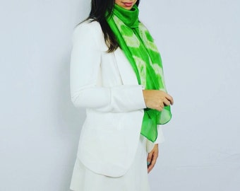 Silk Hand Dyed Scarf in Green and Ivory | 100% Silk Scarf | Gift Ideas For Friends | Gift for Her | Women Scarf