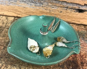 Ceramic Jewelry Dish / Handmade Pottery Ring Dish / Copper Green Ring Holder / Birthday Gift for Her / Bridesmade Gift