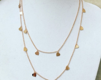 Silver and gold Hearts pendant necklace