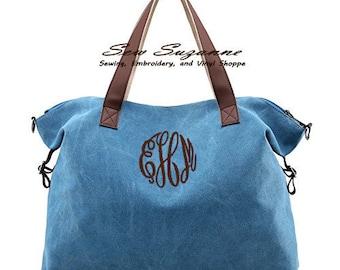 Monogrammed Shoulder Bag, Top Handle Beach Tote, Purse, Crossbody Bag
