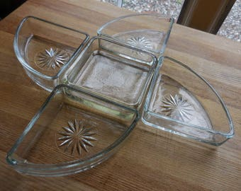 Vintage 1950s to 1960s Clear Glass 5 Dishes Circlular/Square Serving Parties Get Togethers Hors D'Oeuvres Mid Century
