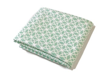 Mint Geo Fabric - Pastel Mint and White Mosaic Splash Geo Print on 100% Cotton Quilting Fabric by the Yard