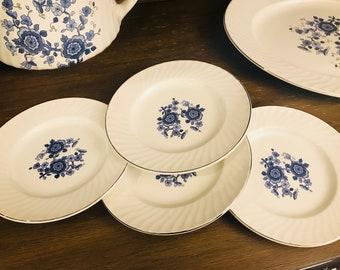 Vintage Bread & Butter Plates And Fruit Dessert Bowls By Wedgwood And Co LTD In Royal Blue Ironstone