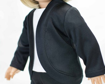 CARDIGAN JACKET Sweater in BLACK knit for American Girl or 18 inch doll
