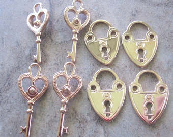 8 Rose Gold Plated Pewter Lock and Key Set Charms,4 Sets - JD110 & JD111