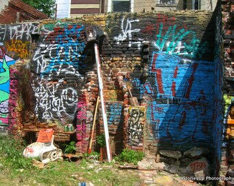 Empty Lot Mural Graffiti Philadelphia Photography Digital Download Brick Wall Street Art Painted Building
