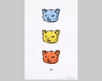 Kitschy Cat Art Poster: 11.5 X 17 inches, high-quality ink on heavy paper, perfect for child's room or retro home accent