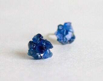 Navy Blue Studs - Dark Blue Sapphire raw stud earrings - sterling silver stud earring