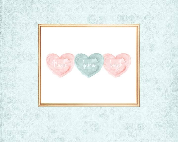 Three Sisters Print in Teal and Blush with Custom Names, 8x10