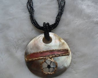 hand painted shell beaded necklace