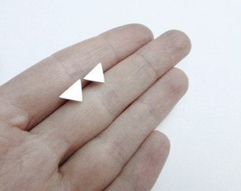 triangle studs triangle earrings triangle jewelry silver studs sterling silver earrings