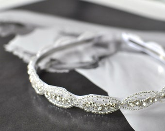 Wedding headpiece, headband, QUEENIE, Rhinestone Headband, Wedding Headband, Bridal Headband, Bridal Headpiece, Rhinestone