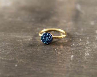Cobalt Blue Druzy Hammered Ring (Gold Sterling Silver Rose Gold Drusy Quartz Stacking Ring Gifts Under 50)