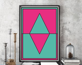 Wall Art, Wall Art Decor, Wall Art Print, Wall Art Hanging, Wall Art Canvas, Wall Art Printable, Pink & Green Wall Art Digital Download