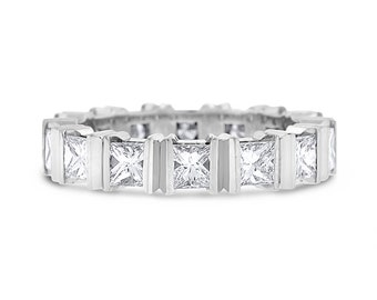 2.41 CT Natural Princess Cut Diamond Eternity Band in Solid 14k White Gold