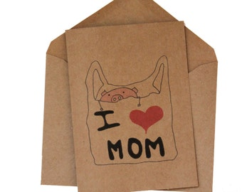 Mother's day card sweet - cute mothers day card - i love mom card for mom - son to mum mothers day card sweet