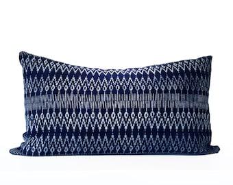 "Authentic Geometric Indigo Batik Hmong Pillow, Hand-dyed by Tribal Women, Natural Indigo, Blue, White, 14"" x 24"""