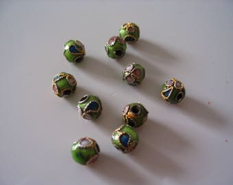 Set of 10 lime green cloisonees 6 mm beads