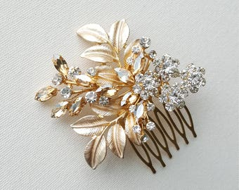Gold Bridal Hair Comb, Wedding Headpiece, Gold Bridal Comb, Gold Wedding Hair Comb